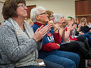 16 JANUARY 2020 - DES MOINES, IOWA: People applaud for Kayleigh McEnany while she speaks at the Women for Trump rally in Airport Holiday Inn in Des Moines. About 200 women attended the event, which featured Lara Trump, Mercedes Schlapp, and Kayleigh McEnany, surrogates on the campaign trail for President Donald Trump.           PHOTO BY JACK KURTZ