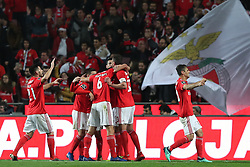 December 23, 2018 - Lisbon, Portugal - Benfica's Brazilian defender Jardel ccelebrates with teammates after scoring during the Portuguese League football match SL Benfica vs SC Braga at the Luz stadium in Lisbon on December 23, 2018. (Credit Image: © Pedro Fiuza/ZUMA Wire)