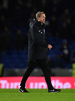 Football - 2019 / 2020 Premier League - Brighton & Hove Albion vs. Watford<br /> <br /> Brighton & Hove Albion Head Coach Graham Potter at the end of the game, at the Amex Stadium.<br /> <br /> COLORSPORT/ASHLEY WESTERN