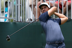 June 24, 2018 - Cromwell, Connecticut, United States - Jamie Lovemark tees off the first hole during the final round of the Travelers Championship at TPC River Highlands. (Credit Image: © Debby Wong via ZUMA Wire)