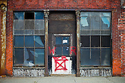 SHOT 10/13/09 10:21:19 AM - A vacant storefront in downtown Buffalo, NY. Buffalo, N.Y. is the second most populous city in the state of New York and is located in Western New York on the eastern shores of Lake Erie and at the head of the Niagara River. By 1900, Buffalo was the 8th largest city in the country, and went on to become a major railroad hub, the largest grain-milling center in the country and the home of the largest steel-making operation in the world. The latter part of the 20th Century saw a reversal of fortunes: by the year 1990 the city had fallen back below its 1900 population levels. (Photo by Marc Piscotty / © 2009)