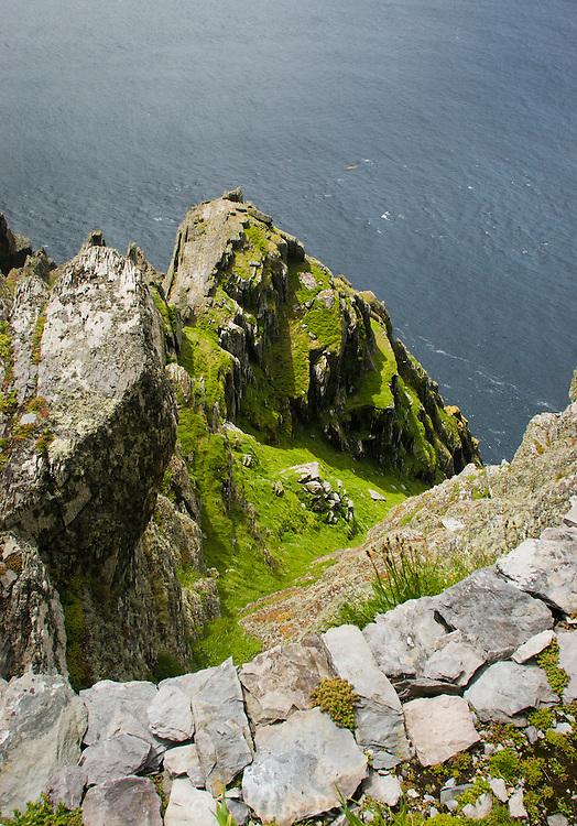 Prayer platform perched atop Skellig Michael, County Kerry, Ireland