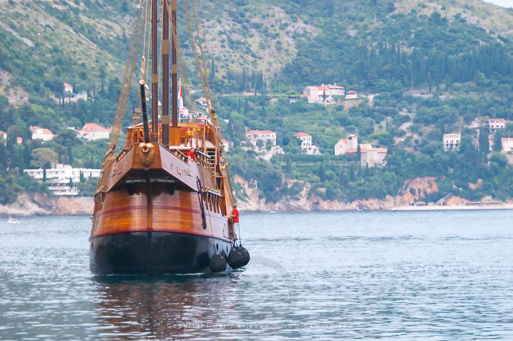 The Karaka 16 century galleon replica boat in the old harbour Dubrovnik, old city. Dalmatian Coast, Croatia, Europe.