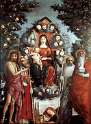 'Trivulzio Madonna' Oil on canvas,1497, Castello Sforzesco, Museo Civico d'Arte Antica, Milan, by Andrea Mantegna (c. 1431 – September 13, 1506) Italian Renaissance painter