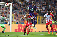 Georgios Gkalitsios and Landry Dimata fight for the ball during the Jupiler Pro League matchday 4 between Rsc Anderlecht and Excel Mouscron on August 17, 2018 in Brussels, Belgium, Photo by Vincent Van Doornick / Isosport/ Pro Shots / ProSportsImages / DPPI