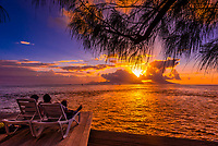 Sunset seen from Manava Suite Beach Resort, Punaauia, Tahiti, French Polynesia.