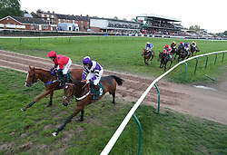 Horses go around the bend in the RacingUK Live On Youview 231 Mares' 'National Hunt' Maiden Hurdle