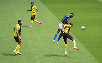 Football - 2019 / 2020 Premier League - Watford vs. Leicester City<br /> <br /> Leicester City's Wilfred Ndidi battles for possession with Watford's Abdoulaye Doucoure, at Vicarage Road.<br /> <br /> COLORSPORT/ASHLEY WESTERN