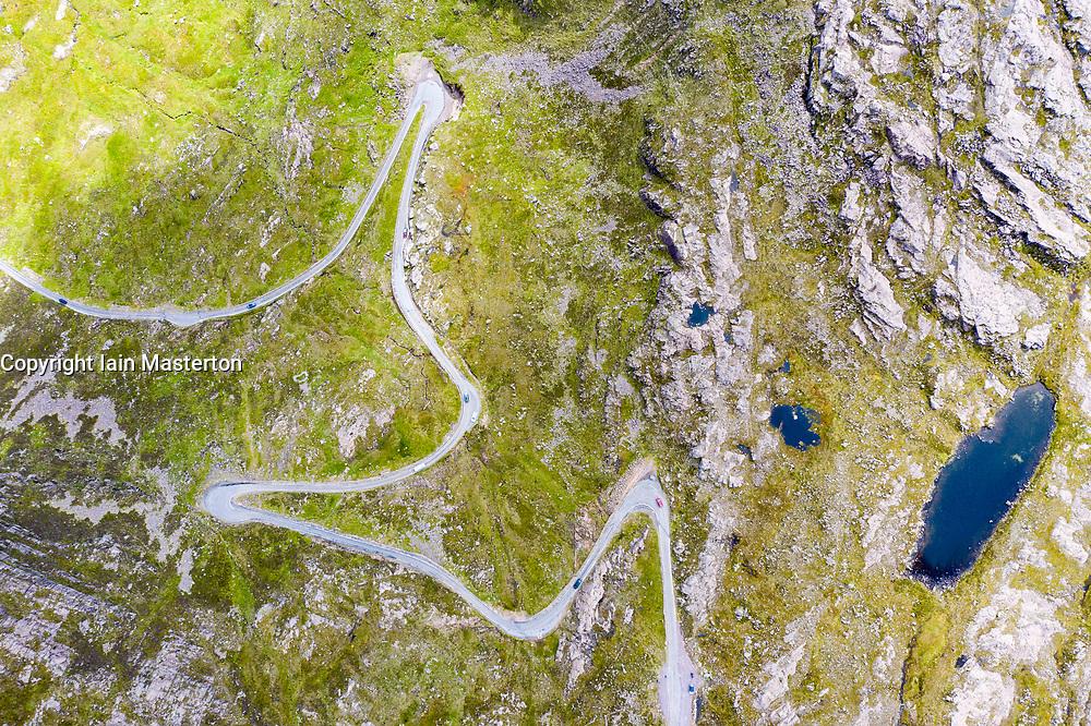 Aerial view of Bealach na Ba pass on Applecross Peninsula in Wester Ross, Scotland, UK