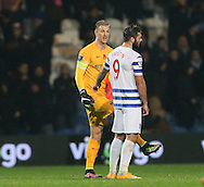 QPR's Charlie Austin chats to Manchester City's Joe Hart about the disallowed goal at the final whistle<br /> <br /> - Barclays Premier League - Queens Park Rangers vs Manchester City- Loftus Road - London - England - 8th November 2014  - Picture David Klein/Sportimage