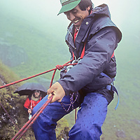 Mingma Mote Sherpa learns to rappel during a climbing school operated by Mountain Travel Nepal in September, 1980.