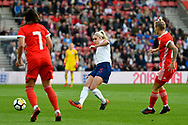 Steph Houghton (5) of England passes the ball during the FIFA Women's World Cup UEFA Qualifier match between England Ladies and Wales Women at the St Mary's Stadium, Southampton, England on 6 April 2018. Picture by Graham Hunt.