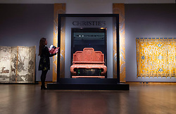 Christie's Spring Asian Art Auctions in London<br /> Press view at Christie's London, Great Britain <br /> 10 May 2019 <br /> <br /> Magnificent Imperial 'Nine Dragon' Lacquer Throne - Qianlong period 1736-1795 <br /> Estimated at £800,000 to £1,200,000<br /> <br /> Sale is on 14th May 2019 <br /> <br /> <br /> <br /> Photograph by Elliott Franks