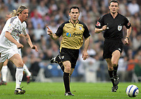 GERARDO Garcia, Spanish Football player and Malaga midfielder, in action with his fellow countryman GUTI, Real Madrid midfielder. Real Madrid - Malaga / League 2004-05. Santiago Bernabeu Stadium, Madrid. 20-03-2005.  <br />  <br />  <br /> Norway only