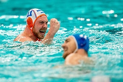 Jesse Koopman of the Netherlands in action against Romania during the Olympic qualifying tournament. The Dutch water polo players are on the hunt for a starting ticket for the Olympic Games on February 16, 2021 in Rotterdam