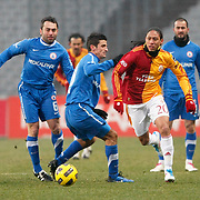 Istanbul BBSpor's Efe INANC (L) and Galatasaray's Juan Pablo PINO (R) during their Turkish soccer superleague match Istanbul BBSpor between Galatasaray at the Ataturk Olympic stadium in Istanbul Turkey on Saturday 26 February 2011. Photo by TURKPIX