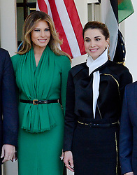First Lady Melania Trump and Queen Rania of Jordan look on in front of the West Wing of the White House in Washington, DC, April 5, 2017.Photo by Olivier Douliery/ Abaca