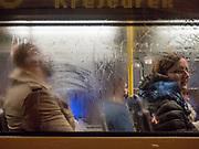 Evening tram in Žižkov.