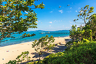 Blue sea and white sands of Burgas beach in springtime