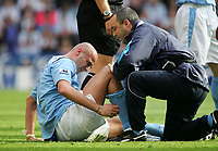 Photo: Andrew Unwin.<br />Newcastle United v Manchester City. The Barclays Premiership. 24/09/2005.<br />Manchester City's Antoine Sibierski receives treatment.