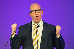 © Licensed to London News Pictures . 25/09/2015 . Doncaster , UK . PAUL NUTTALL MEP speaks at the 2015 UKIP Party Conference at Doncaster Racecourse . Photo credit : Joel Goodman/LNP