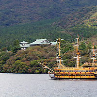 Asia, Japan, Hakone. A touristic sightseeing schooner on Lake Ashi for views of Mt. Fuji.