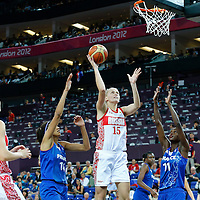 09 August 2012: Russia Nadezhda Grishaeva goes for the skyhook  during 81-64 Team France victory over Team Russia, during the women's basketball semi-finals, at the 02 Arena, in London, Great Britain.