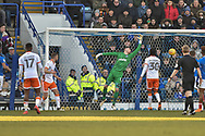 Blackpool Defender, Clark Robertson (5) scores a headed goal to make it 0-2 during the EFL Sky Bet League 1 match between Portsmouth and Blackpool at Fratton Park, Portsmouth, England on 24 February 2018. Picture by Adam Rivers.