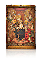 Gothic altarpiece of Madonna and Child and 4 angels, by Pere Garcia de Benavarri, circa 1445-1485, tempera and gold leaf on wood.  National Museum of Catalan Art, Barcelona, Spain, inv no: MNAC  15817. Against a white background. . .<br /> <br /> If you prefer you can also buy from our ALAMY PHOTO LIBRARY  Collection visit : https://www.alamy.com/portfolio/paul-williams-funkystock/gothic-art-antiquities.html  Type -     MANAC    - into the LOWER SEARCH WITHIN GALLERY box. Refine search by adding background colour, place, museum etc<br /> <br /> Visit our MEDIEVAL GOTHIC ART PHOTO COLLECTIONS for more   photos  to download or buy as prints https://funkystock.photoshelter.com/gallery-collection/Medieval-Gothic-Art-Antiquities-Historic-Sites-Pictures-Images-of/C0000gZ8POl_DCqE