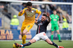 Morton's Ricki Lamie and Falkirk's Lee Miller. <br /> Falkirk 1 v 0 Morton, Scottish Championship game  played 1/5/2016 at The Falkirk Stadium.