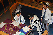 France, Paris, Interior of a synagogue Bar Mitzvah ceremony