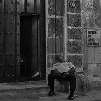 Colonial Art Museum Guard. Night Walkabout in Old Havana. Image taken with a Leica T camera and 23 mm f/2 lens.