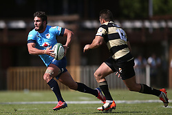 Dries Swanepoel of the Blue Bulls attempts to get past Gerrit van Wyk of Boland during the Currie Cup premier division match between the Boland Cavaliers and The Blue Bulls held at Boland Stadium, Wellington, South Africa on the 23rd September 2016<br /> <br /> Photo by:   Shaun Roy/ Real Time Images