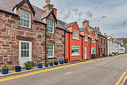 Residential street in Ullapool, Scotland, UK