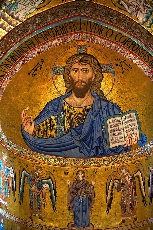 Byzantine mosaics of Christ , Mary and the Apostles at the Cathedral, Duomo of Cefalu [Cefaú] Sicily .<br /> <br /> If you prefer you can also buy from our ALAMY PHOTO LIBRARY  Collection visit : https://www.alamy.com/portfolio/paul-williams-funkystock/byzantine-art-antiquities.html . Type -   Cefalu   - into the LOWER SEARCH WITHIN GALLERY box. Refine search by adding background colour, place, museum etc<br /> <br /> Visit our BYZANTINE ART PHOTO COLLECTION for more   photos  to download or buy as prints https://funkystock.photoshelter.com/gallery-collection/Roman-Byzantine-Art-Artefacts-Antiquities-Historic-Sites-Pictures-Images-of/C0000lW_87AclrOk .<br /> <br /> Visit our SICILY PHOTO COLLECTIONS for more   photos  to download or buy as prints https://funkystock.photoshelter.com/gallery-collection/2b-Pictures-Images-of-Sicily-Photos-of-Sicilian-Historic-Landmark-Sites/C0000qAkj8TXCzro <br /> <br /> <br /> Visit our MEDIEVAL PHOTO COLLECTIONS for more   photos  to download or buy as prints https://funkystock.photoshelter.com/gallery-collection/Medieval-Middle-Ages-Historic-Places-Arcaeological-Sites-Pictures-Images-of/C0000B5ZA54_WD0s