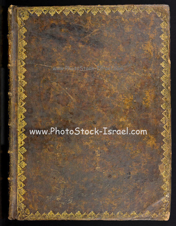 Sheepskin binding on an ancient book cover printed in 1691