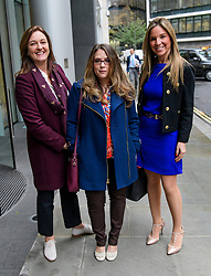 © Licensed to London News Pictures. 23/10/2017. London, UK. Tracy Gehlan, Suzette Burger and Nathalie Dauriac-Stoebe arrive at the High Court in London.  All three women claim they were unfairly treated while working for billionaire Phones 4U businessman John Caudwell. Photo credit: Ben Cawthra/LNP