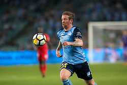 April 8, 2018 - Sydney, NSW, U.S. - SYDNEY, NSW - APRIL 8: Sydney FC midfielder David Carney (17) races on to a through ball at the A-League Soccer Match between Sydney FC and Adelaide United on April 8, 2018 at Allianz Stadium in Sydney, Australia. (Photo by Speed Media/Icon Sportswire) (Credit Image: © Speed Media/Icon SMI via ZUMA Press)