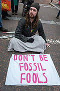 Extinction Rebellion protesters gather at St Jamess Park on the 7th October 2019 in Central London in the United Kingdom. Extinction Rebellion protesters occupy locations across central London including Westminster Bridge, Whitehall and Trafalgar Square in a wave of protests planned to continue for 2 weeks.