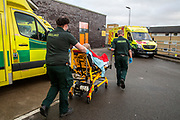 Mcc0098692 . Daily Telegraph<br /> <br /> DT News<br /> <br /> Emergency ambulance crew member Andy Snowball and Paramedic Zachary Rainey transfer a patient into A&E .<br /> <br /> <br /> Inside the A&E at Northwick Park .<br /> <br /> <br /> London 2 February 2021