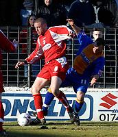 Photo: Dave Linney.<br />Shrewsbury Town v Leyton Orient. Coca Cola League 2. 04/03/2006Orients .Gary Alexander(L) keeps   Neil Ashton at bay