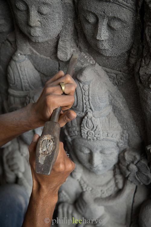 Craftsman carry's out restoration work, Borobudur, Borobudur, Kedu Valley, South Central Java, Java, Indonesia, Southeast Asia