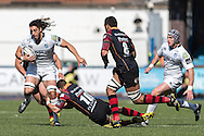 Josh Navidi (L) of the Cardiff Blues runs through the tackle of Dorian Jones of the Newport Gwent Dragons. Guinness Pro12 rugby match, Cardiff Blues v Newport Gwent Dragons at the Cardiff Arms Park in Cardiff, South Wales on Sunday 17th April 2016.<br /> pic by Simon Latham, Andrew Orchard sports photography.