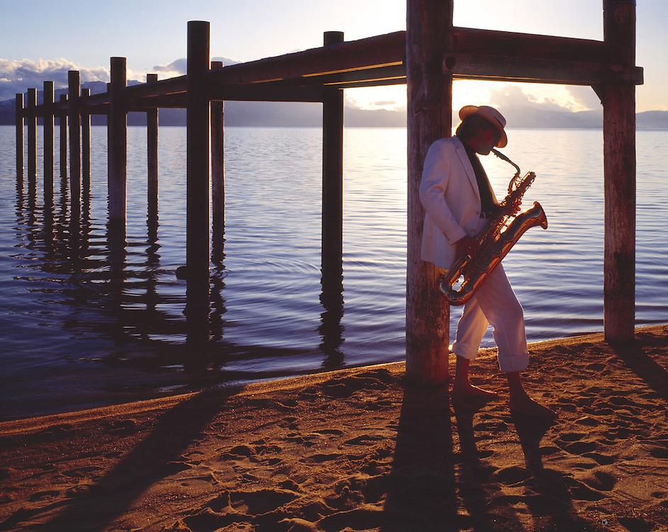 Lake Tahoe Landscape Saxophone Player Lake Tahoe