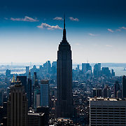Dramatic Manhattan skyline dominated by Empire State Building