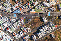 Aerial view of village in Canary island with traditional white houses, Tinajo, Spain.