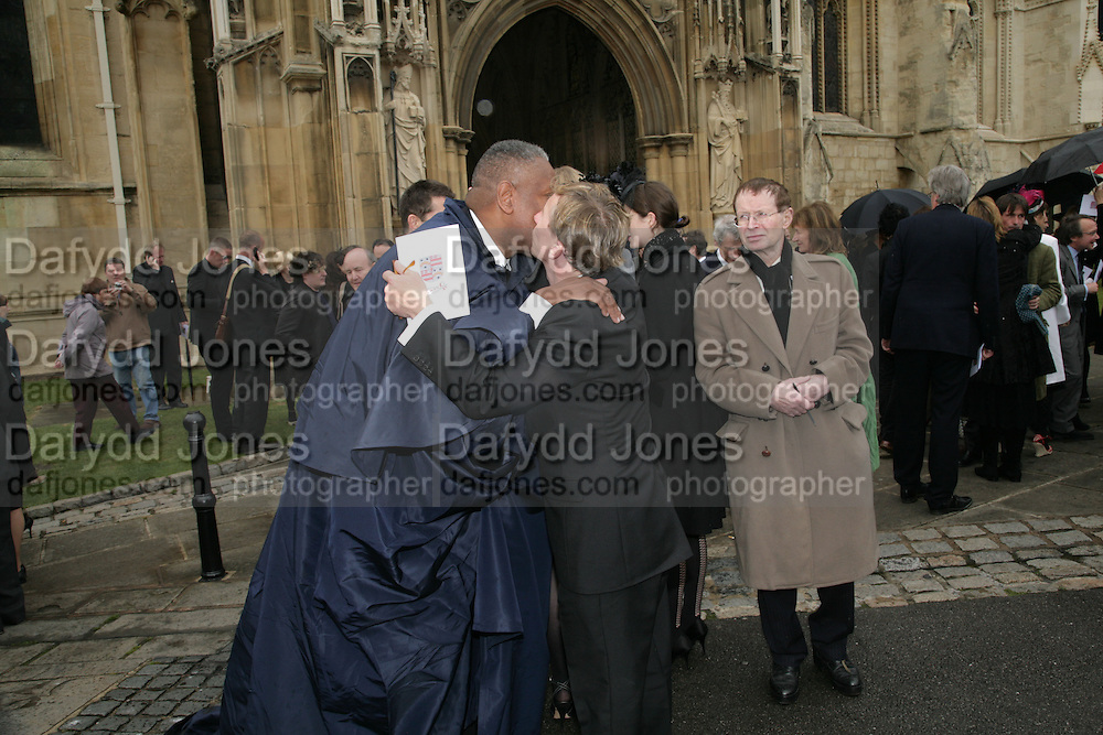 Andre Leon Talley and Jasper Conran, Funeral for Isabella Blow. Gloucester Cathedral. 15 May 2007.  -DO NOT ARCHIVE-© Copyright Photograph by Dafydd Jones. 248 Clapham Rd. London SW9 0PZ. Tel 0207 820 0771. www.dafjones.com.