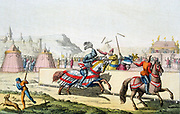 Armoured knights jousting at a tournament. The knight on far side has a shattered lance and is being unhorsed. 12th century. Engraving c1820
