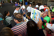 January 10 2016: Jordan Spieth signs for fans after winning the Hyundai Tournament of Champions at Kapalua Plantation Course on Maui, HI. (Photo by Aric Becker)