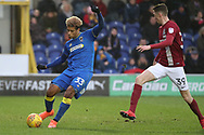 AFC Wimbledon striker Lyle Taylor (33) passing the ball during the EFL Sky Bet League 1 match between AFC Wimbledon and Northampton Town at the Cherry Red Records Stadium, Kingston, England on 10 February 2018. Picture by Matthew Redman.